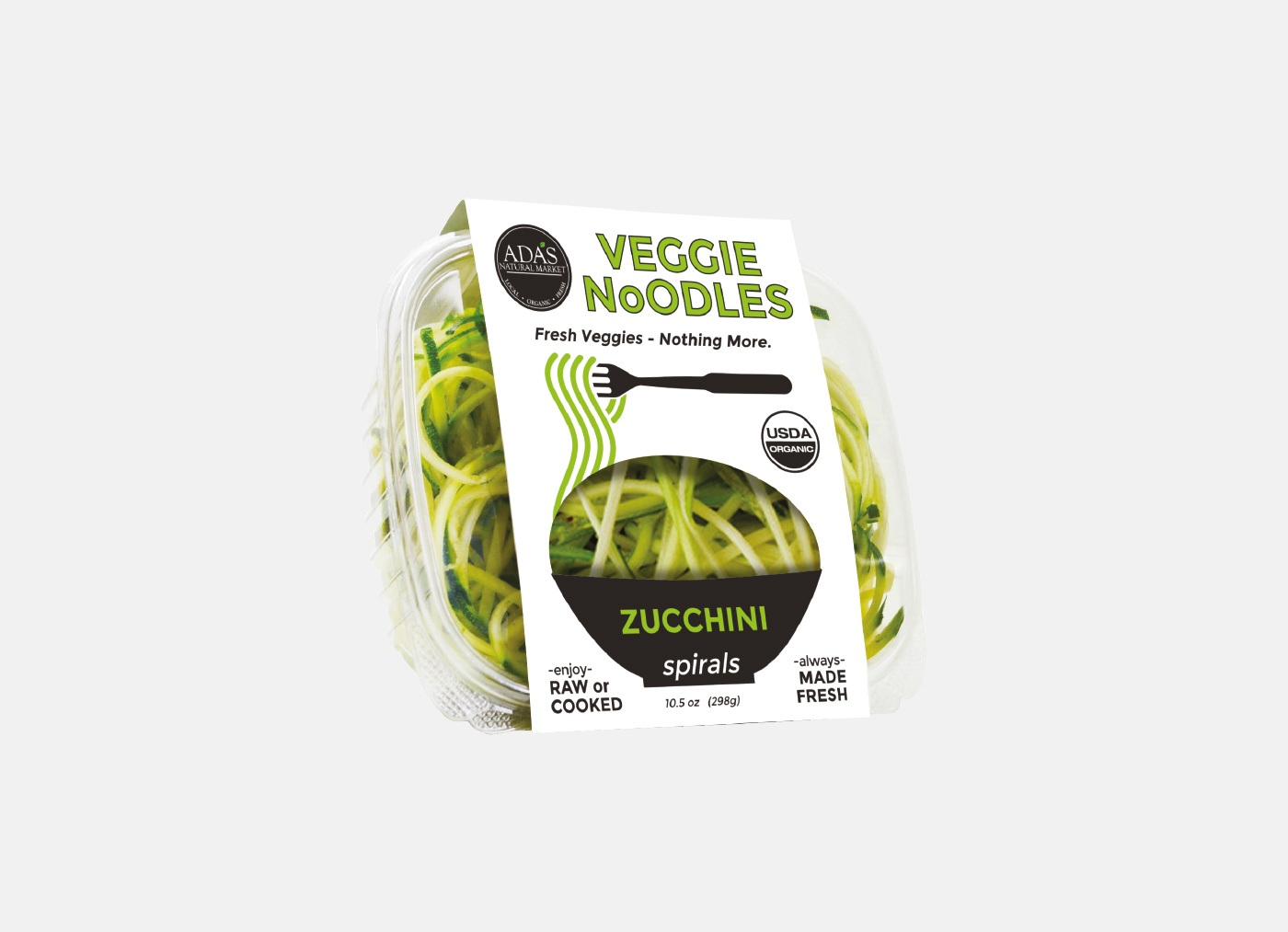 packaging design ada's natural market veggie noodles zucchini