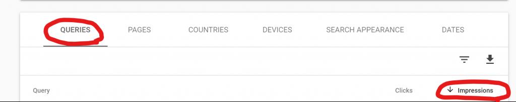Google Search Console Queries Impressions