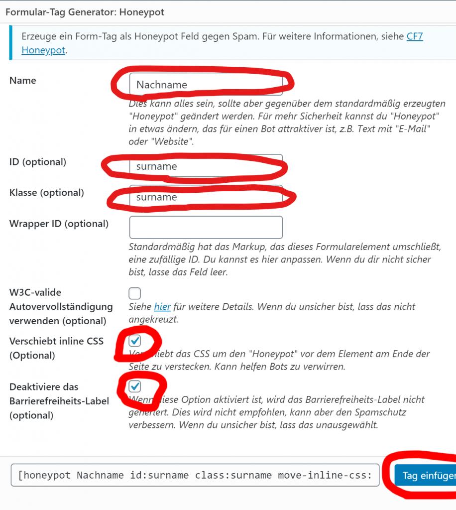 Honeypot WordPress Contact Form 7 generierung einstellungen