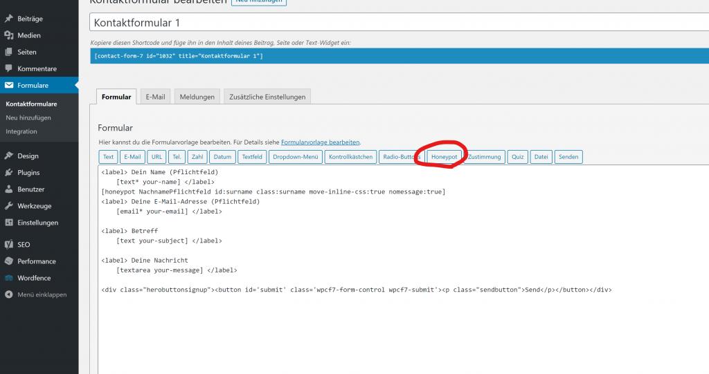 Honeypot WordPress Contact Form 7 Solution