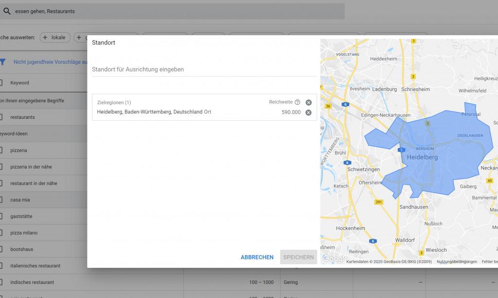 Google keyword planer Heidelberg
